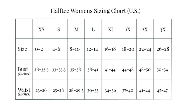 Halftee Women's Sizing Chart