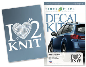 I HEART 2 KNIT - Vinyl Decal for Car or Home