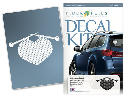 KNIT HEART - Vinyl Decal for Car or Home