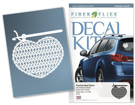 CROCHET HEART - Vinyl Decal for Car or Home
