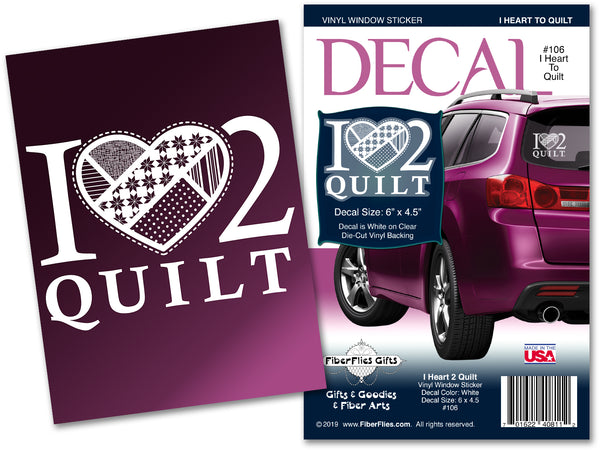I HEART 2 QUILT - Vinyl Decal for Car or Home