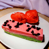 Watermelon Sherbet; watermelon and vanilla ice-cream flavored fudge