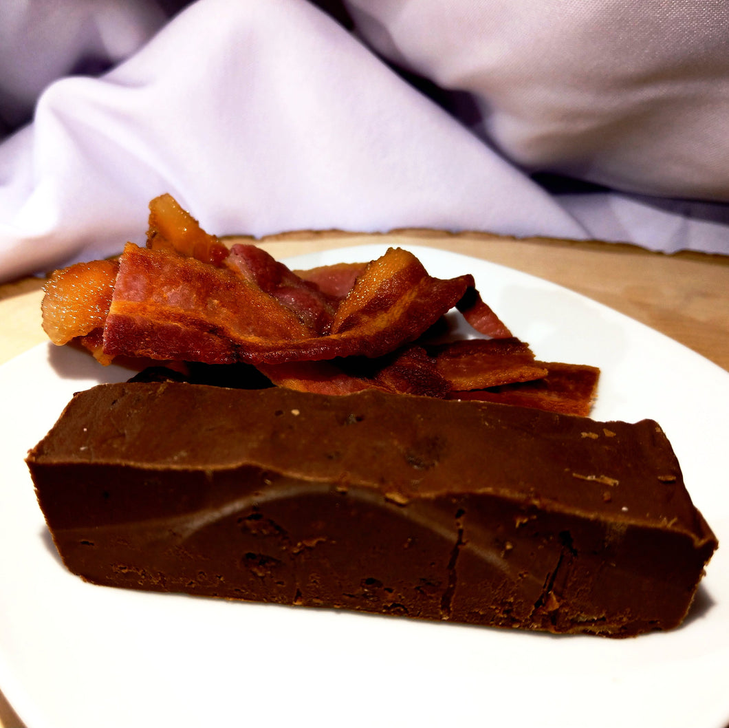 Maple Bacon fudge; semisweet chocolate with real bacon