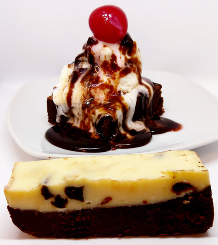 Brownie Sundae fudge; dark chocolate brownie fudge, vanilla ice cream fudge with cherries