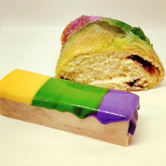 King Cake fudge; cinnamon swirled white chocolate with royal icing