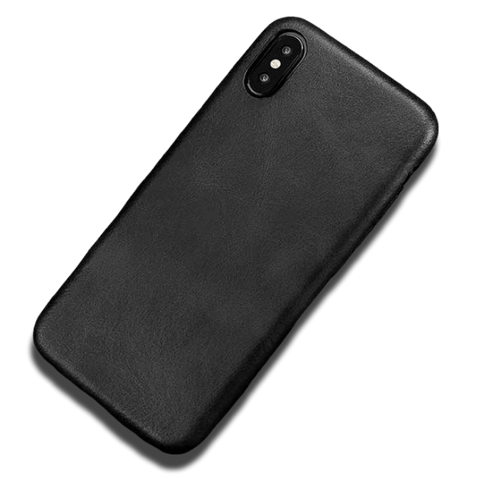 Coque iPhone XR Cuir Artificiel Noir