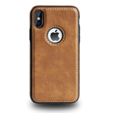 Coque iPhone XR Simili Cuir Marron