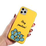 Coque iPhone XR Jaune Stay Positive