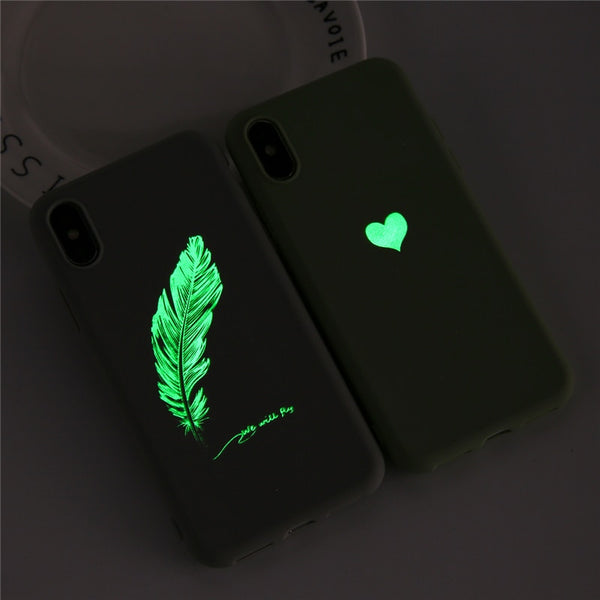 Coque iPhone 8 Verte Cœur Fluorescent