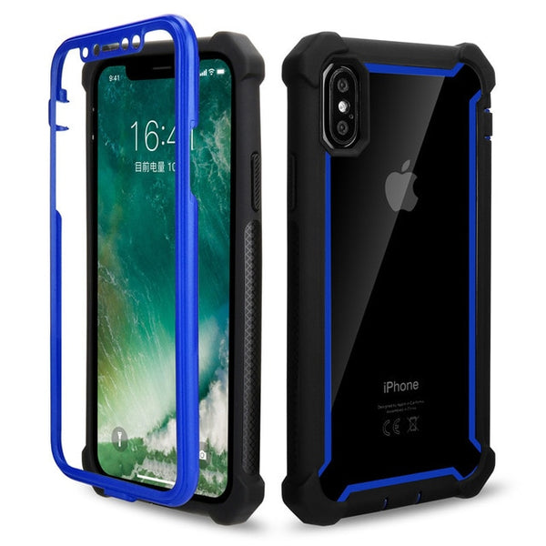 Coque iPhone XR  Double Protection Bordure Bleu