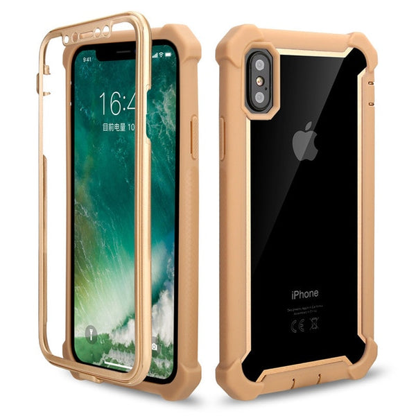 Coque iPhone XR  Double Protection Bordure Or