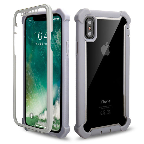 Coque iPhone XR Double Protection Bordure Grise