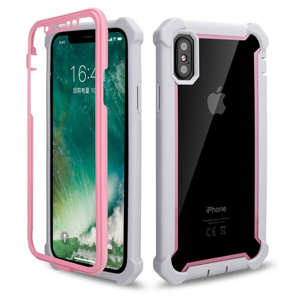 Coque iPhone 11 Double Protection Bordure Rose et Grise