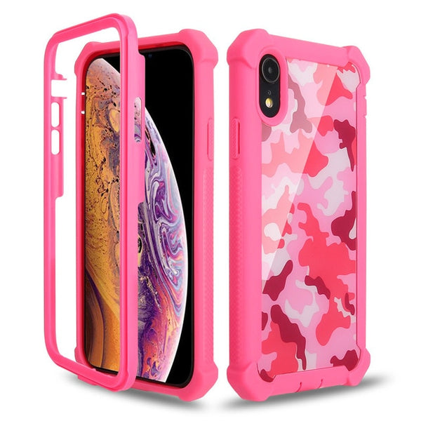 Coque iPhone XR  Double Protection Camouflage rose