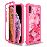 Coque iPhone 11 Double Protection Camouflage rose