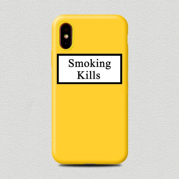 Coque iPhone 8 Jaune Smoking Kills