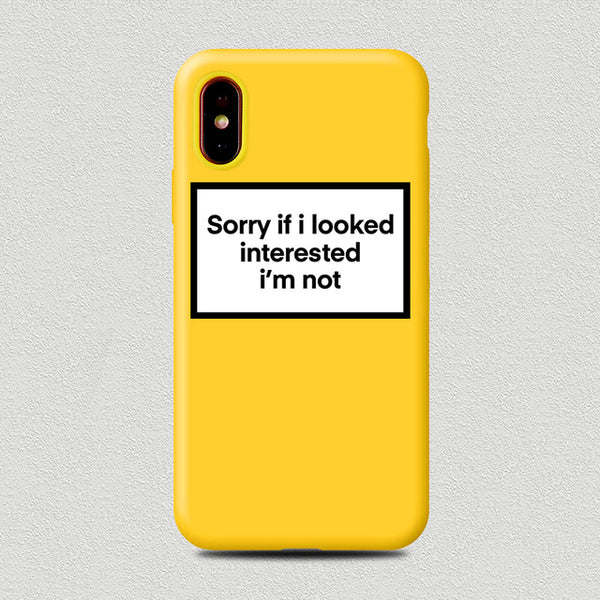 Coque iPhone XR Jaune Sorry If I Looked