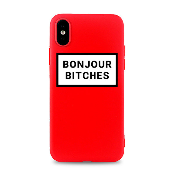 Coque iPhone 8 Rouge Bonjour Bitches