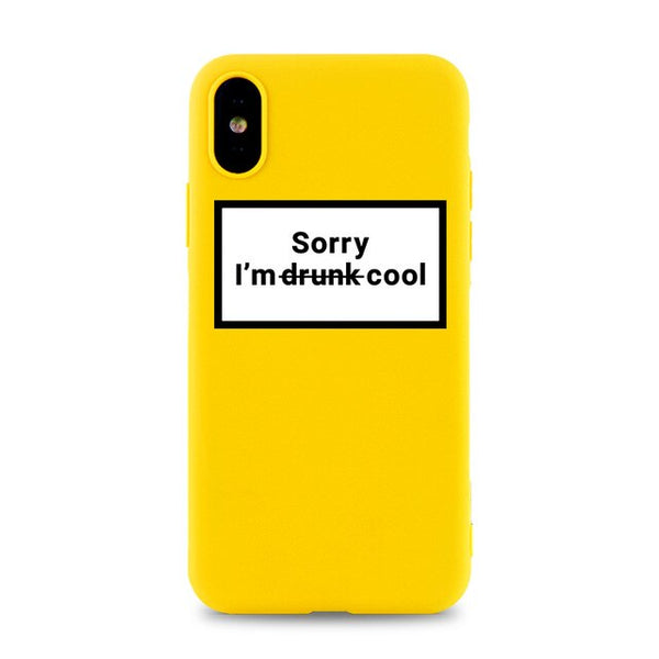 Coque iPhone 8 Jaune Sorry I'm Drunk