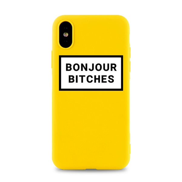 Coque iPhone XR Jaune Bonjour Bitches