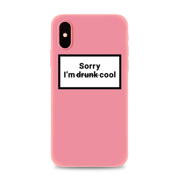 Coque iPhone 6/6s Rose Sorry I'm Drunk