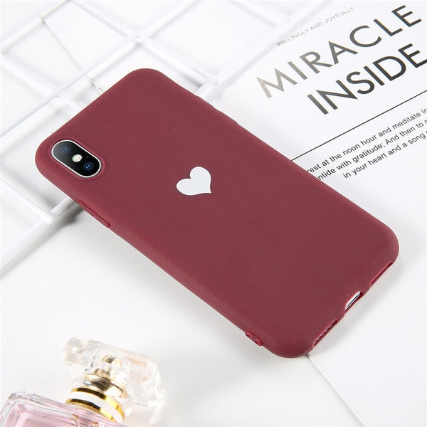 Coque iPhone 11 Rouge Cœur Fluorescent