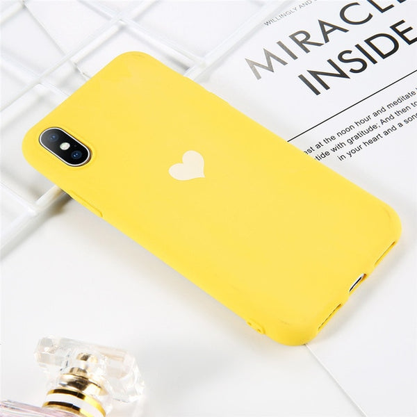 Coque iPhone 11 Jaune Cœur Fluorescent