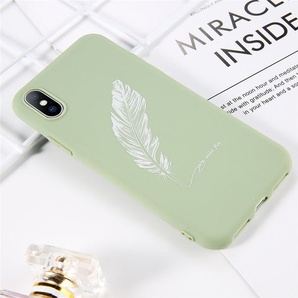 Coque iPhone 6/6s Vert Pastel Plume Fluorescente