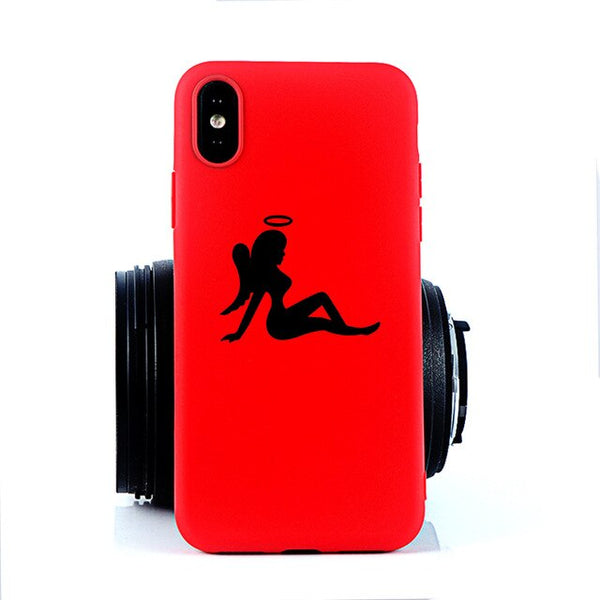 Coque iPhone 11 Ange Sexy Rouge Fluo