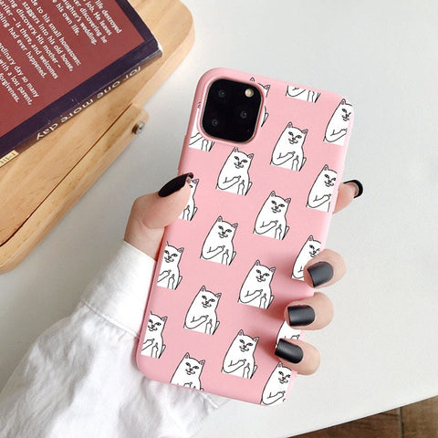 Coque iPhone XR Chats Malpolies Rose