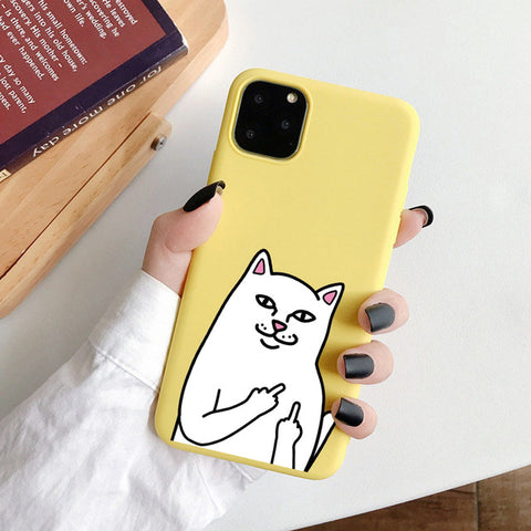 Coque iPhone 8 Chat Malpolie Jaune