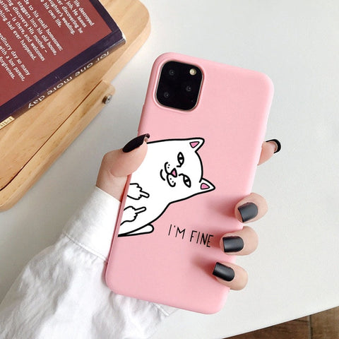Coque iPhone XR Chat Fu*k I'm Fine