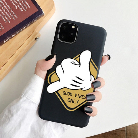 Coque iPhone XR Noir Good Vibes Only