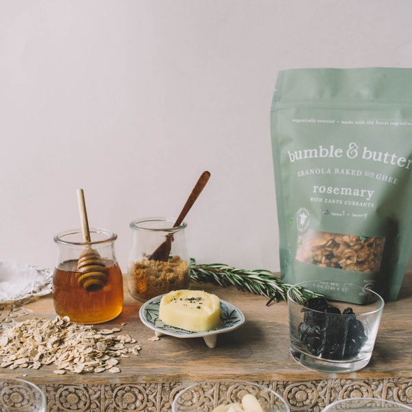 bumble & butter granola baked with grass-fed ghee locally sourced sustainable rosemary aged cheddar vanilla bean recipe locations Erewhon Market Plum Market Los Angeles Health food store all natural healthy gluten-free diet