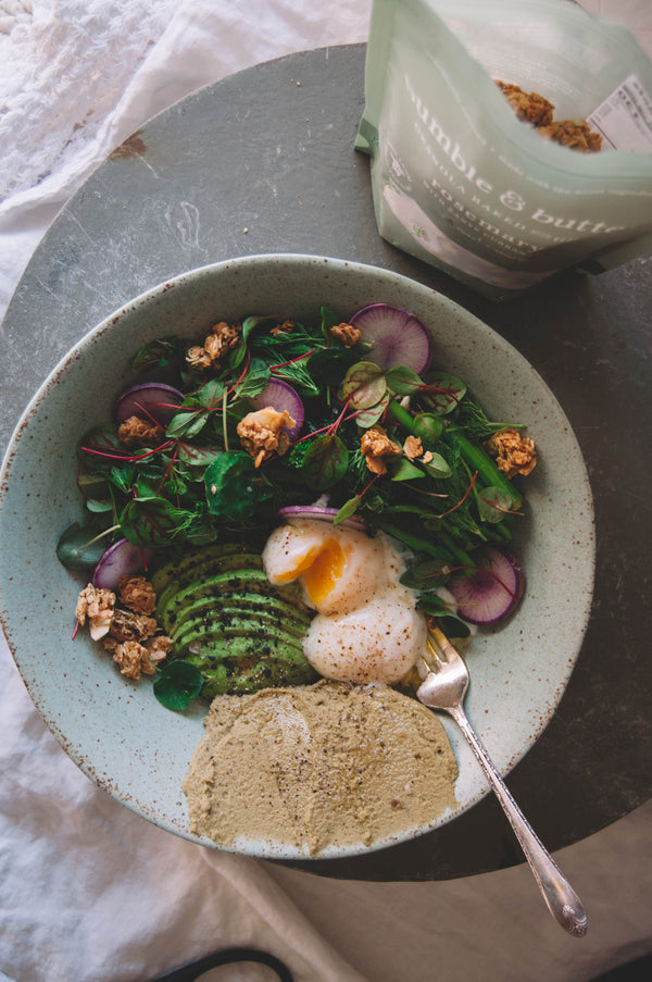 spring green bowl with fava bean herb hummus & rosemary granola