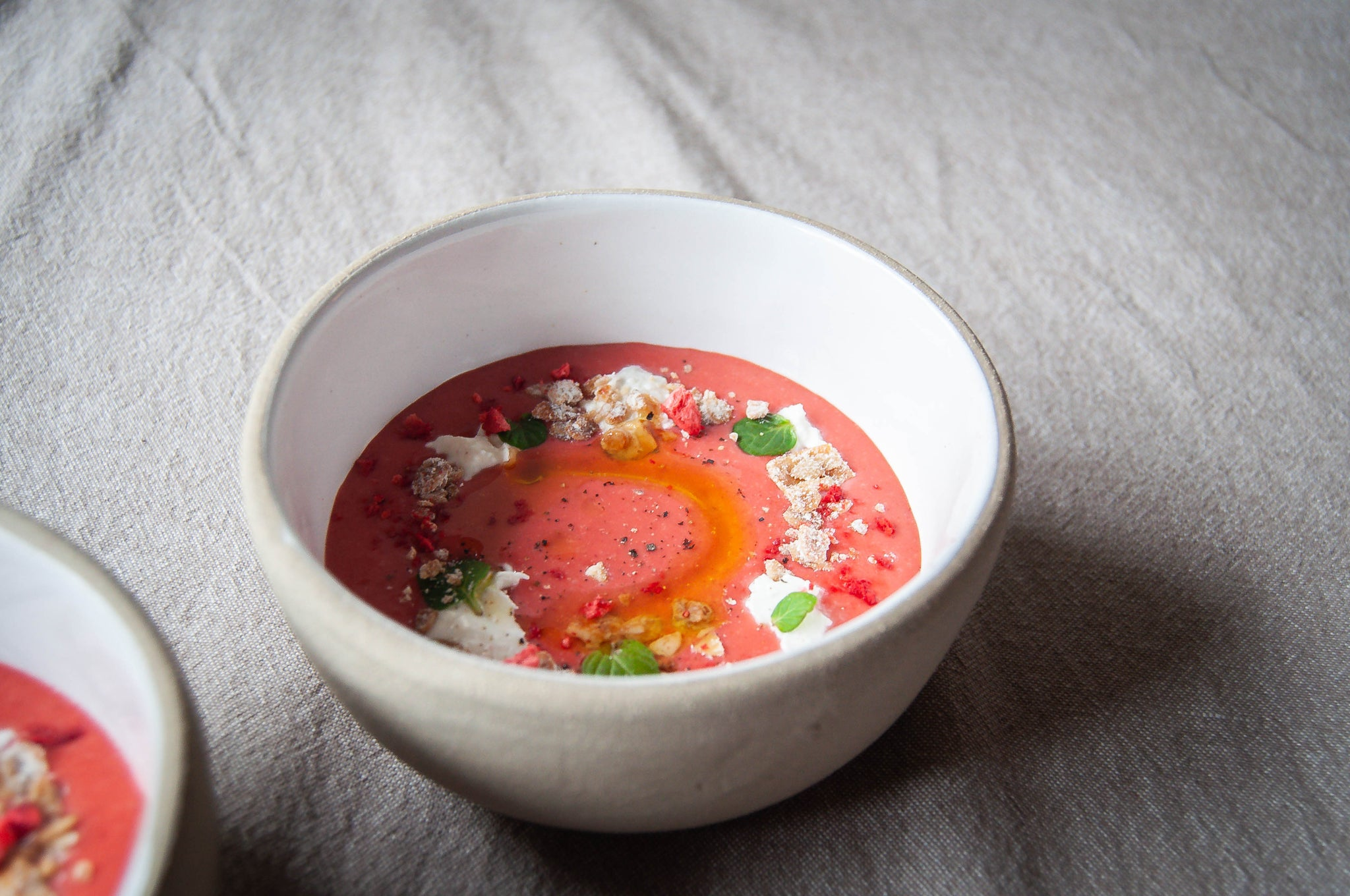 Strawberry Gazpacho with Burrata, Mint & Cheddar Granola