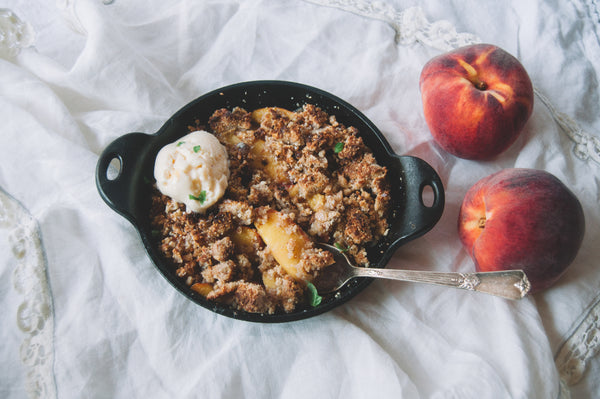 peach ginger cobbler with granola crumble topping