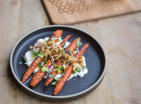 Honey Roasted Carrots with Lemon Yogurt + Rosemary Granola