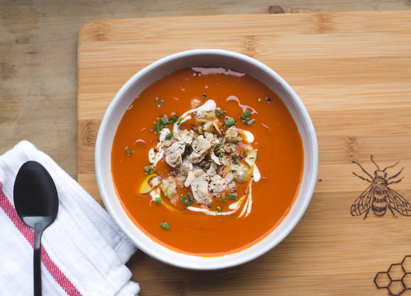 Simple Tomato Soup Recipe with Cheddar Granola from bumble & butter Healthy Easy Dinner