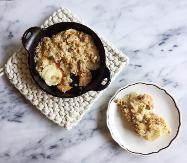 root vegetable gratin with cheddar crumble