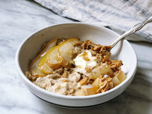 Amaranth Porridge with Ginger, Cinnamon, + Honey-Roasted Pear