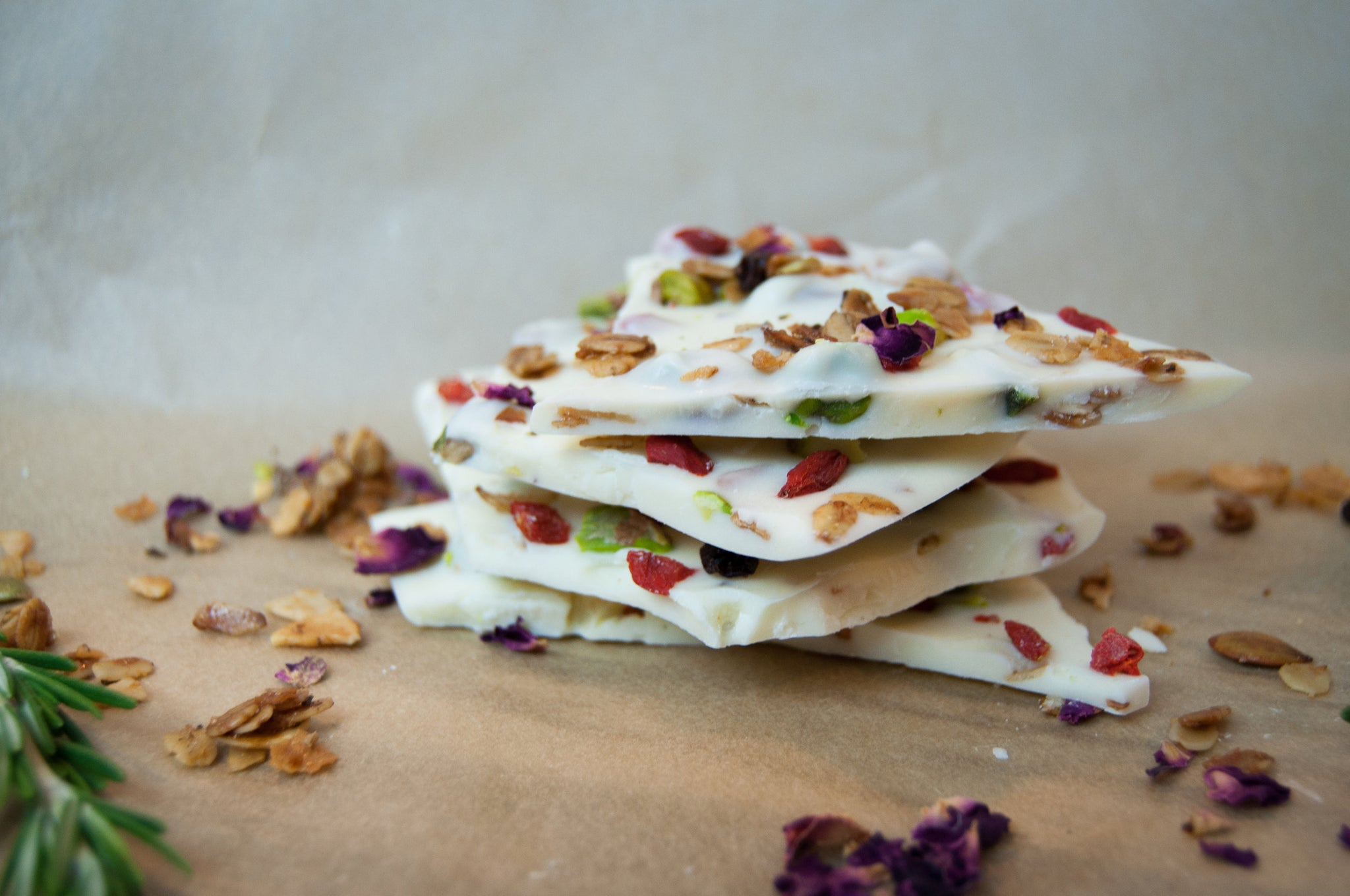 White Chocolate Goji Berry, Pistachio, and Granola Bark