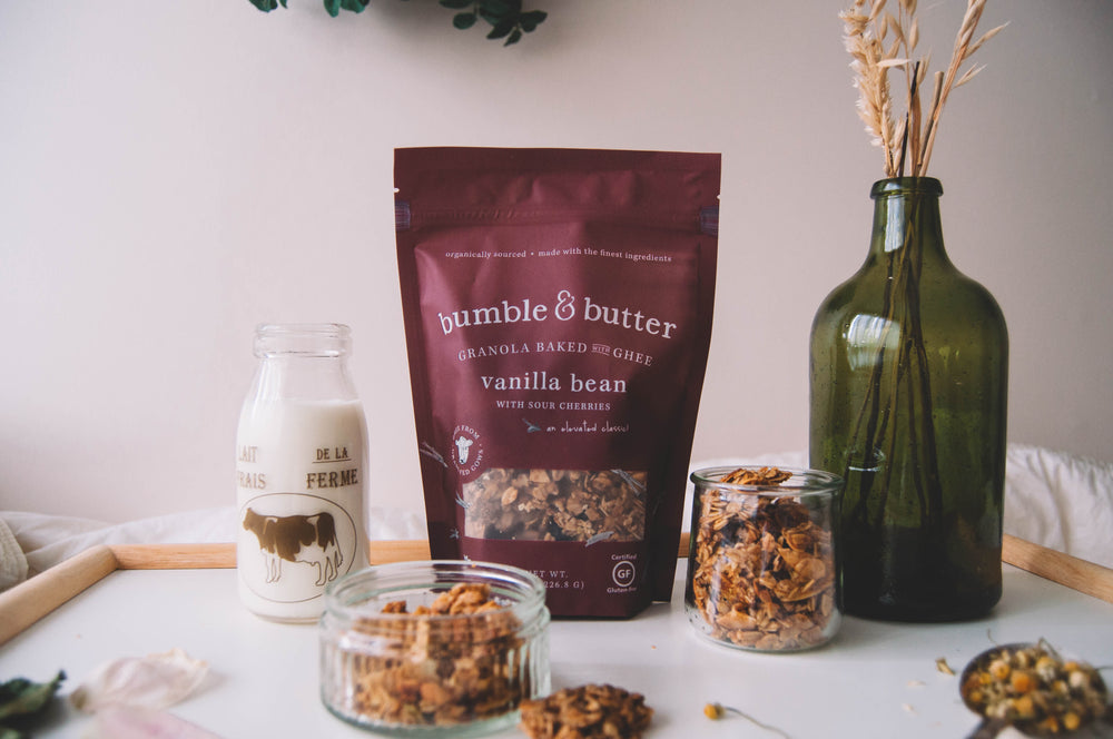 bumble & butter Granola baked with Ghee gluten-free organic healthy snack coronavirus discount sale vanilla bean covid-19 easy-to-make recipes how do you stay healthy while being inside