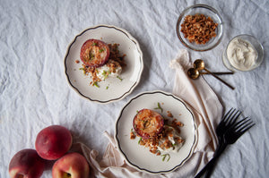 Grilled Peaches with Brown Butter, Mint, and Rosemary Granola