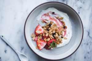 Greek Yogurt with Strawberries and Vanilla Bean Granola