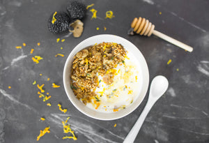 bumble & butter granola baked with grass-fed ghee. black truffle, the most premium ingredients. yogurt parfait
