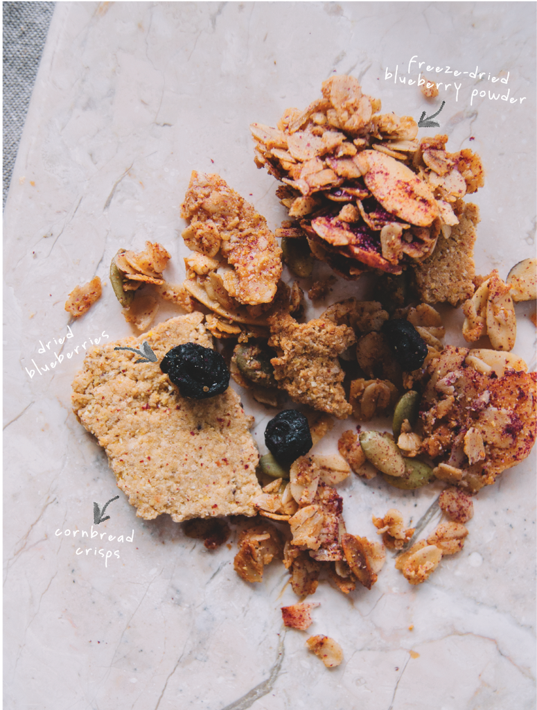 blueberry cornbread granola by bumble & butter baked with ghee and honey