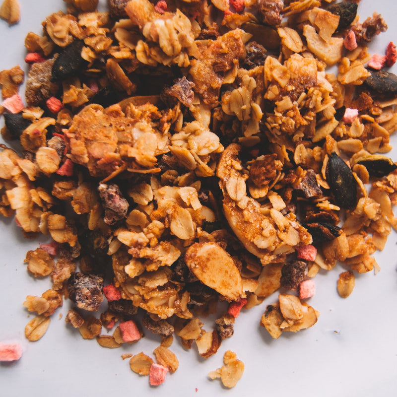 Strawberry Tahini Date Granola