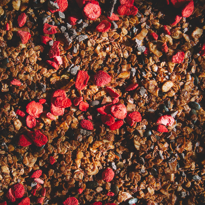 Chocolate Strawberry Granola with Raaka Fairtrade Organic Bean-to-Bar Brooklyn Ghee