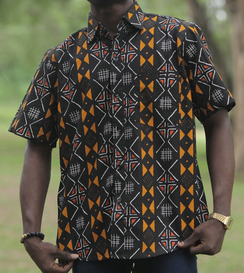 Black Woodin Ankara African Print Short Sleeve Shirt